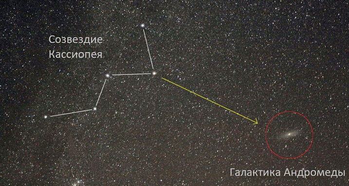 Андромеда относительно созвездию Кассиопея