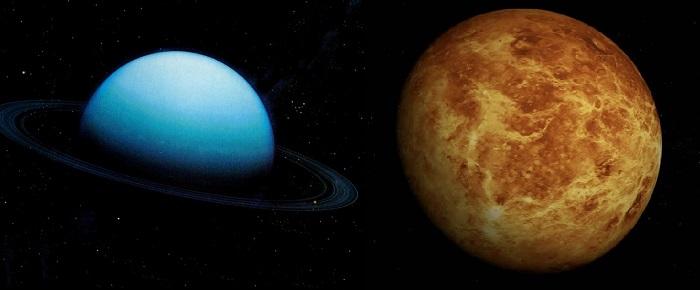 Уран (слева) и Венера (справа)