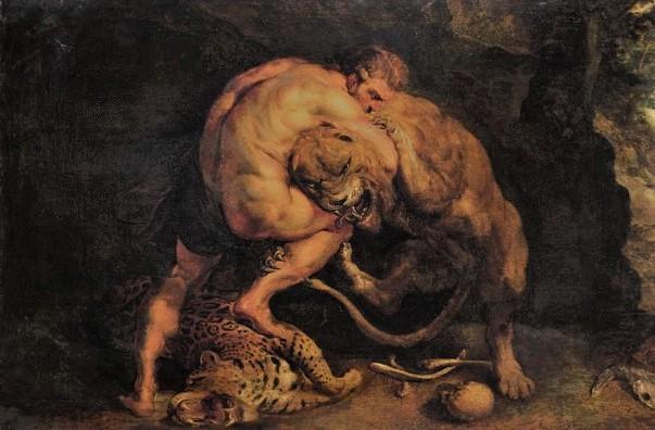 Геракл против Немейского льва (рисунок)