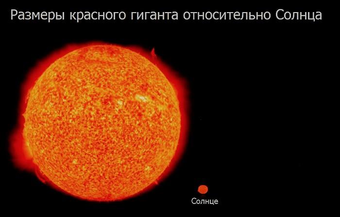 Красный гигант и солнце