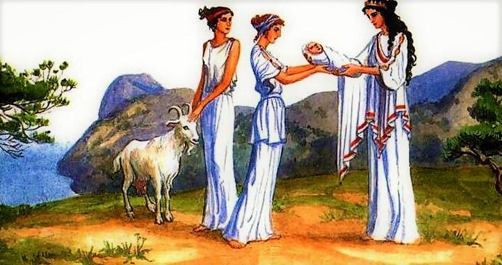 Мать Зевса передаёт нимфам ребёнка