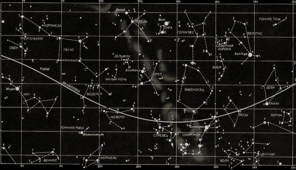 Карта звездного неба с созвездиями (неполная)