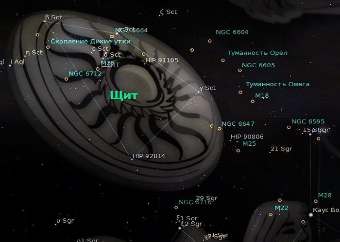 Звёзды созвездия Щит