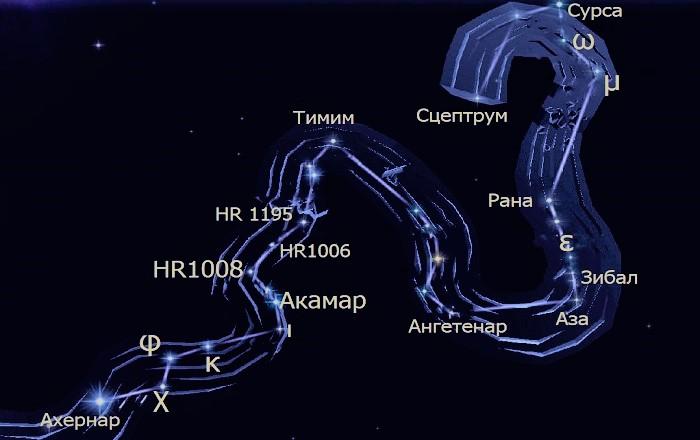 Звёзды созвездия Эридан