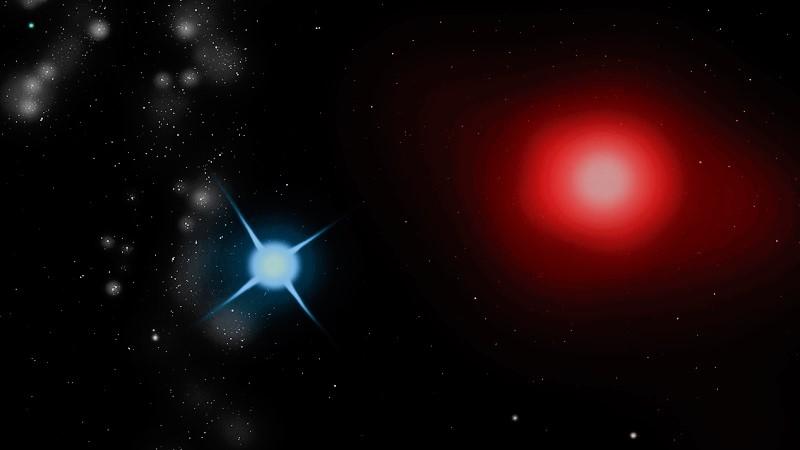 Антарес A (справа) и Антарес B (слева)