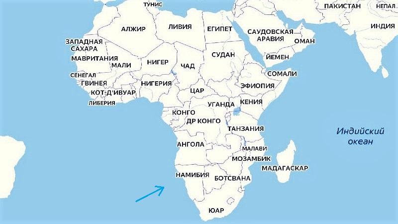 Намибия на карте