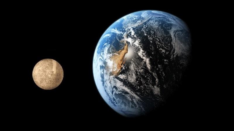 Меркурий в сравнении с Землёй