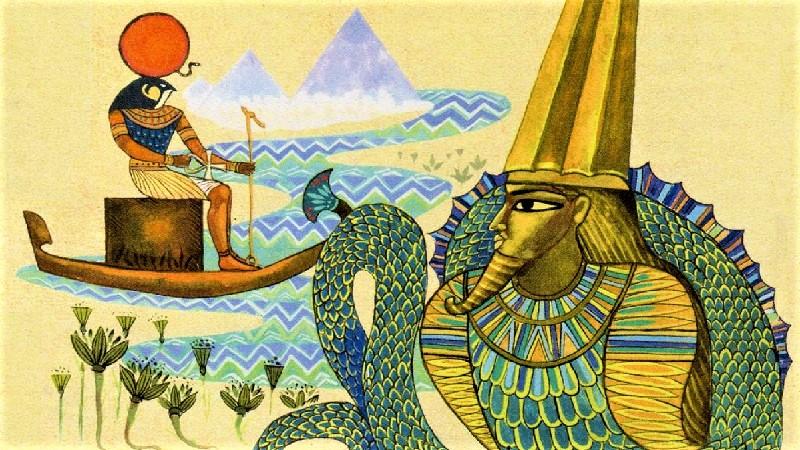 Древнеегипетские боги Амон Ра и Апоп