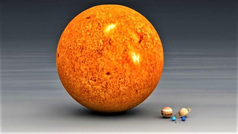 Сравнение рамеров Солнца и планет